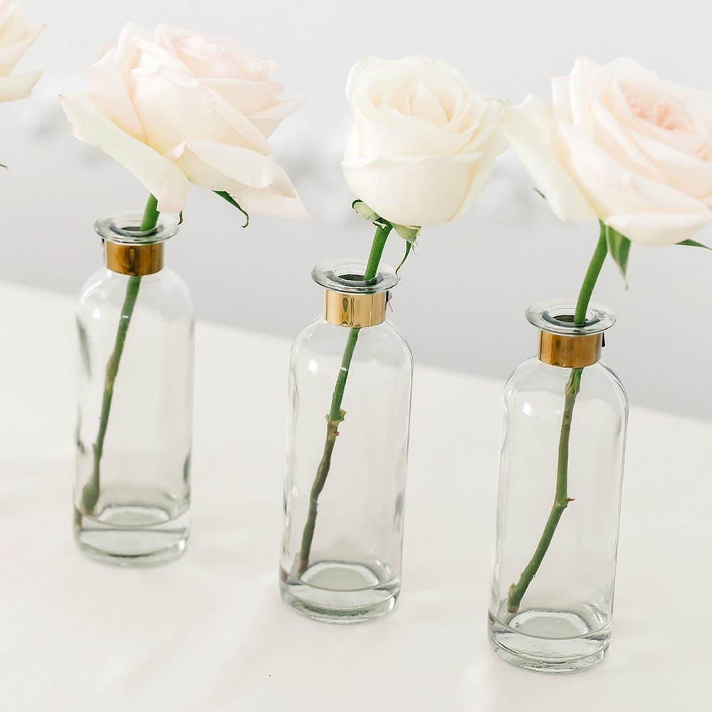 Glass Bottle Flower Vase - Round