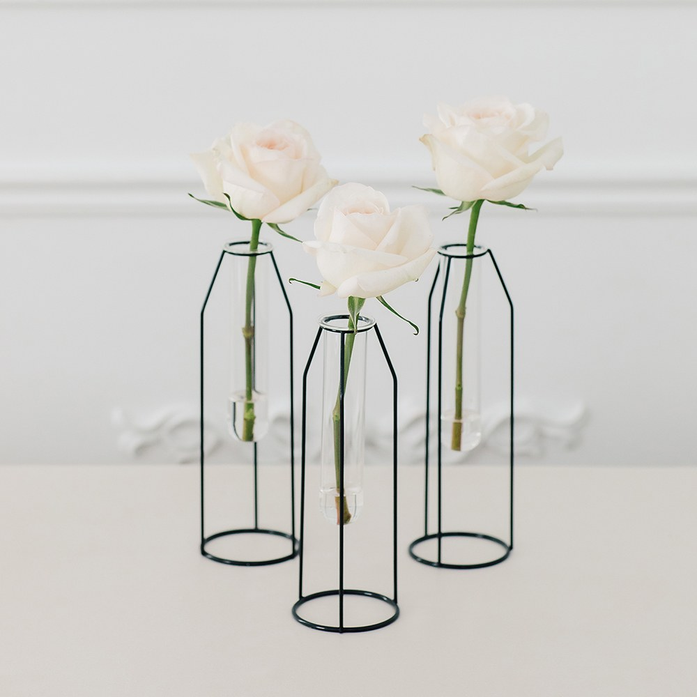 Geometric Tiered Test Tube Flower Vases - Set of 3