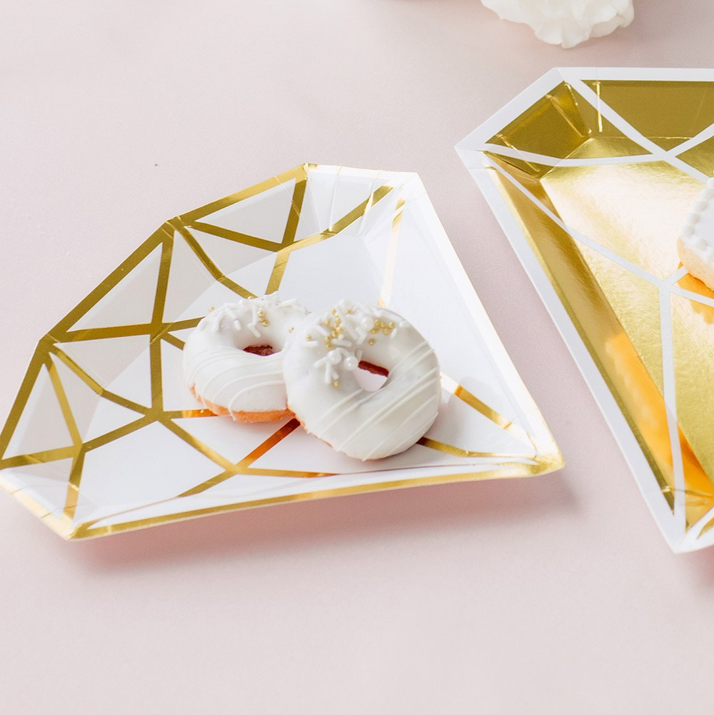 Small Diamond Disposable Paper Party Plates - Gold - Set of 8
