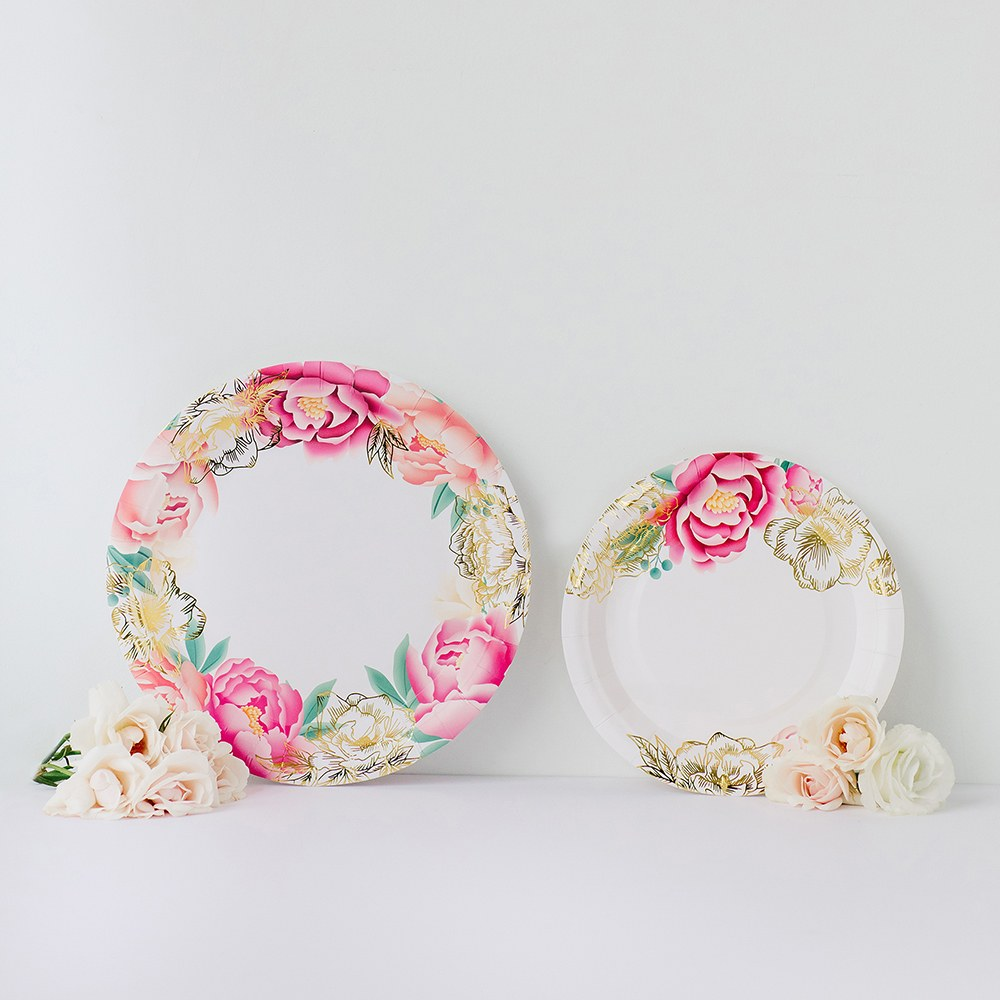 Large Round Disposable Paper Party Plates - Modern Floral - Set of 8