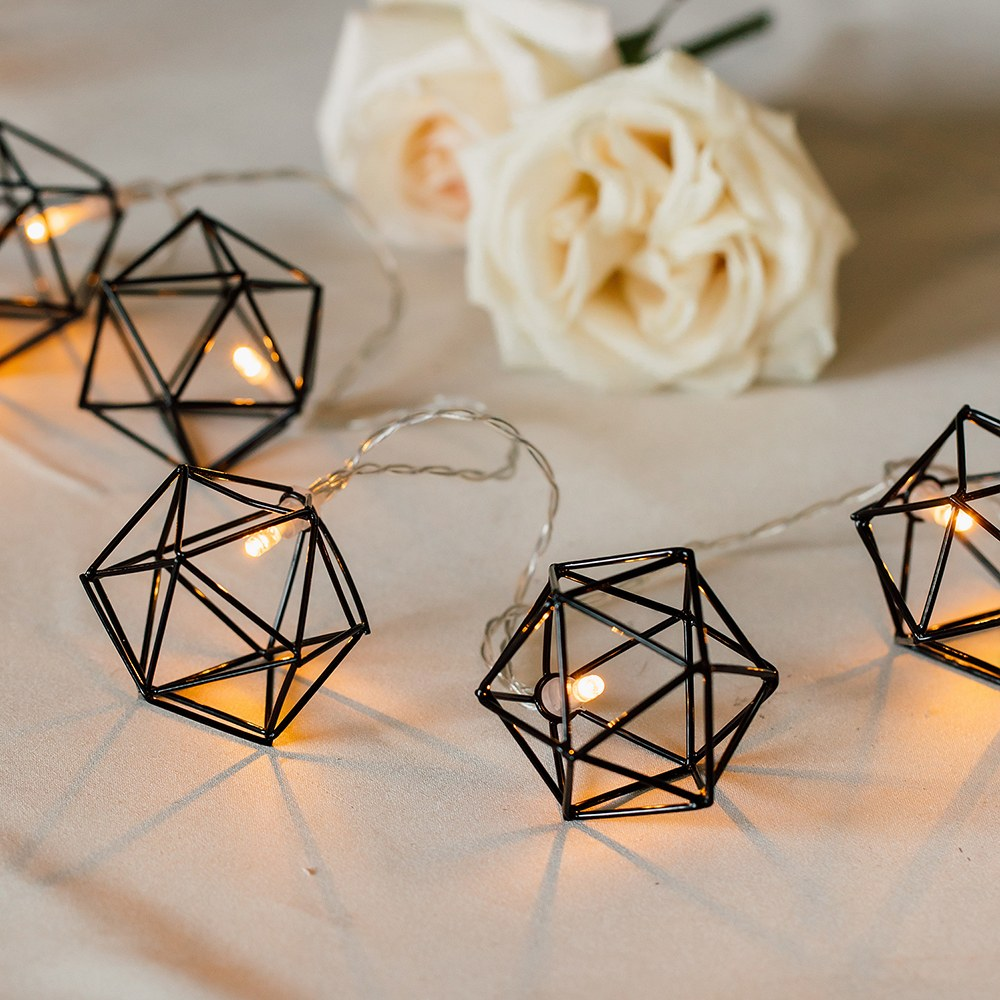 Decorative Battery Operated LED String Lights - Black Geo