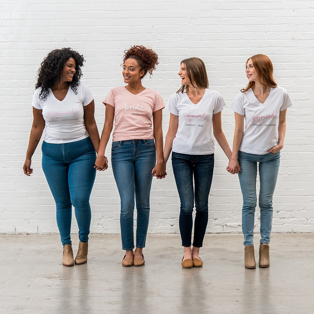 Personalized Bridal Party Wedding T-Shirt - Squad Script