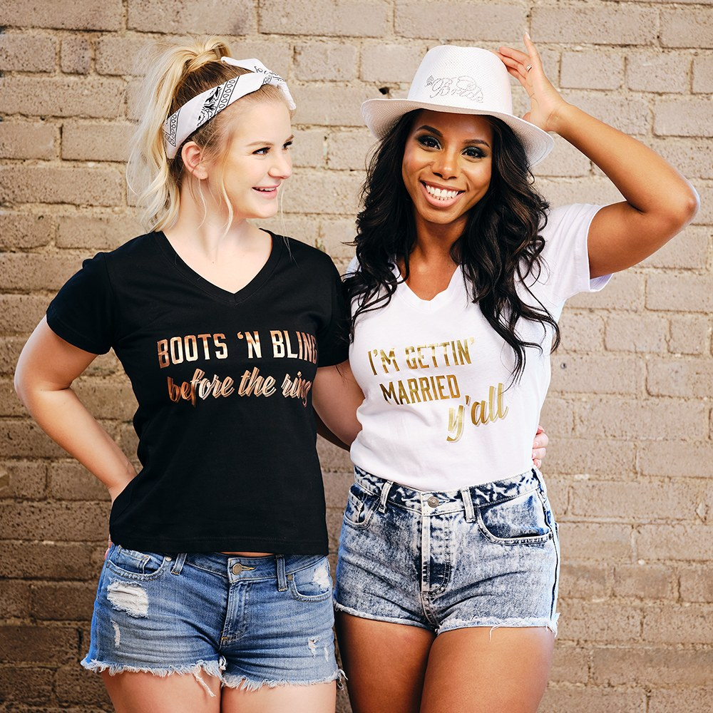 Personalized Bridal Party Wedding T-Shirt - Boots N' Bling