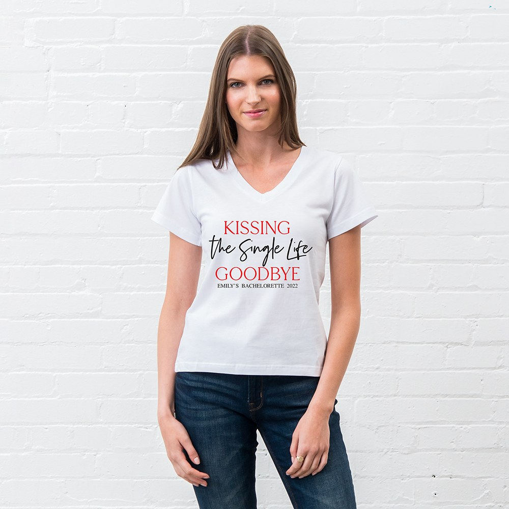 Personalized Bridal Party Wedding T-Shirt - Kissing the Single Life Goodbye