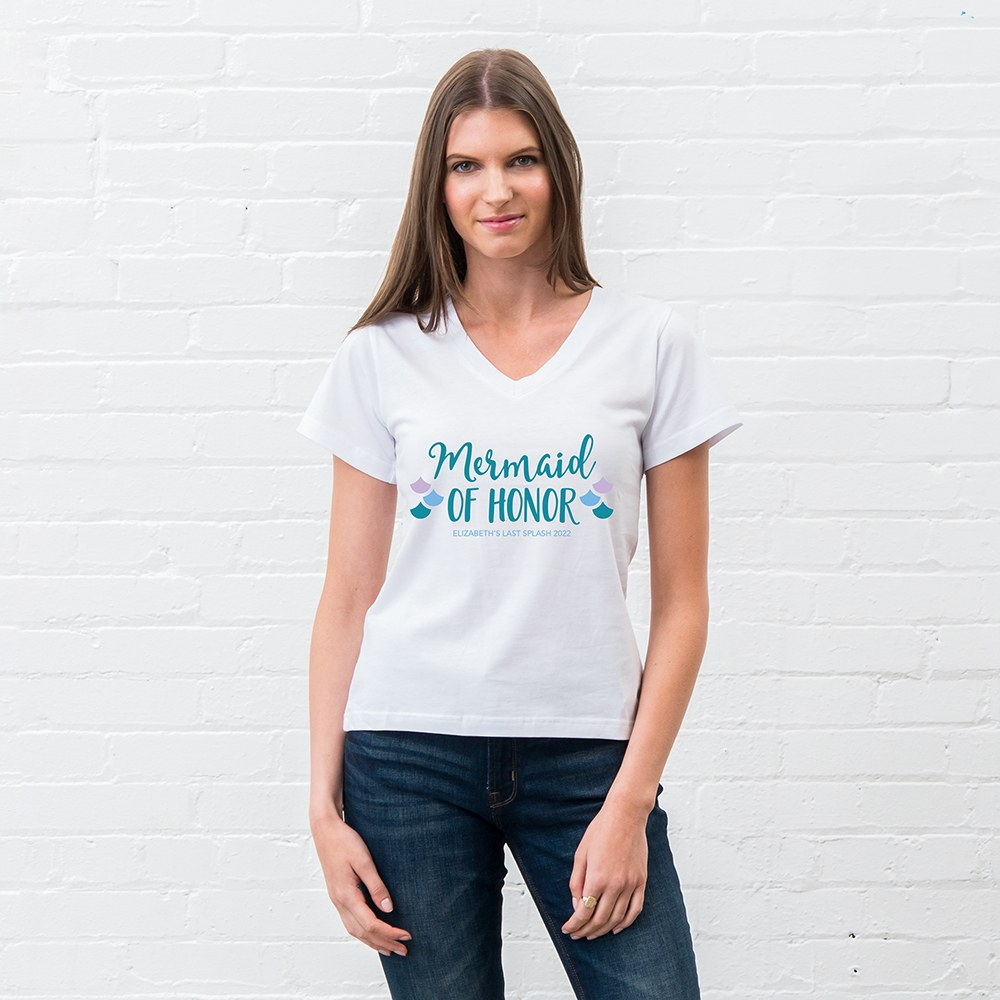 Personalized Bridal Party Wedding T-Shirt - Mermaid of Honor