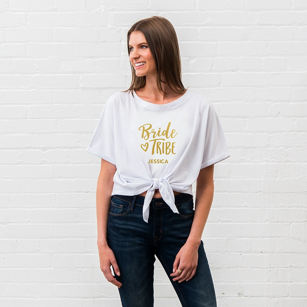 Personalized Bridal Party Tie-Up Wedding Shirt - Bride Tribe