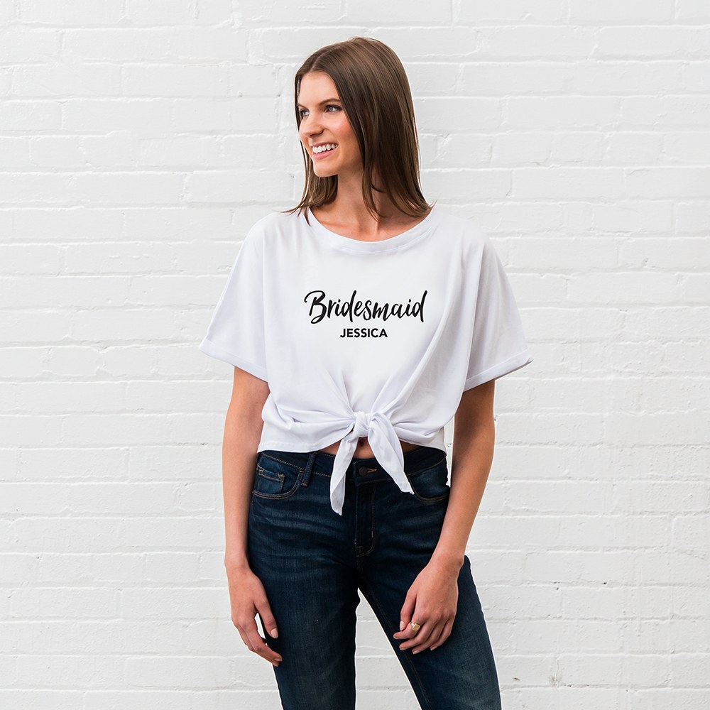 Personalized Bridal Party Tie-Up Wedding Shirt - Bridesmaid