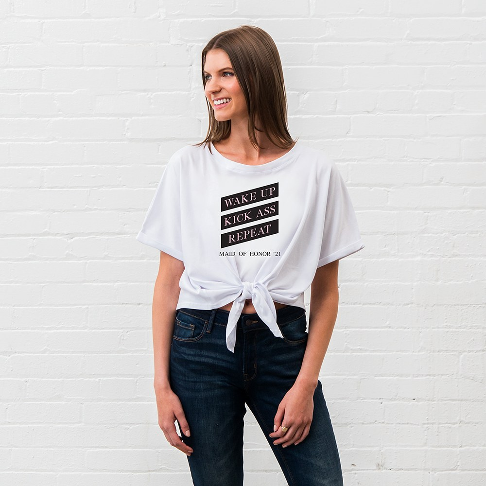 Personalized Bridal Party Tie-Up Wedding Shirt - Wake Up, Kick Ass, Repeat