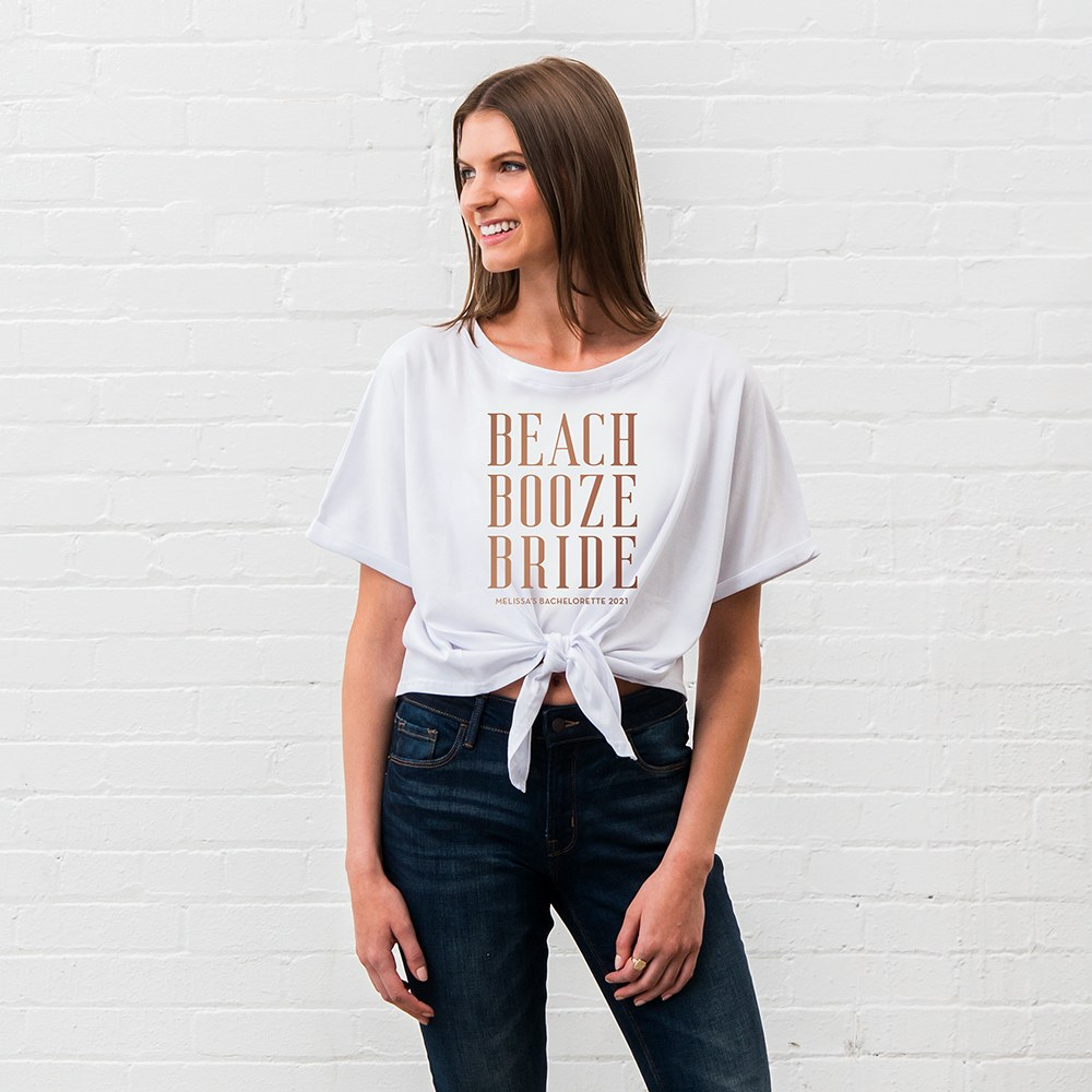 Personalized Bridal Party Tie-Up Wedding Shirt - Beach, Booze, Bride