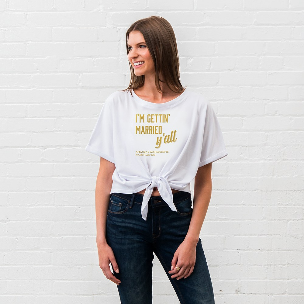 Personalized Bridal Party Tie-Up Wedding Shirt - Getting Married Y'all