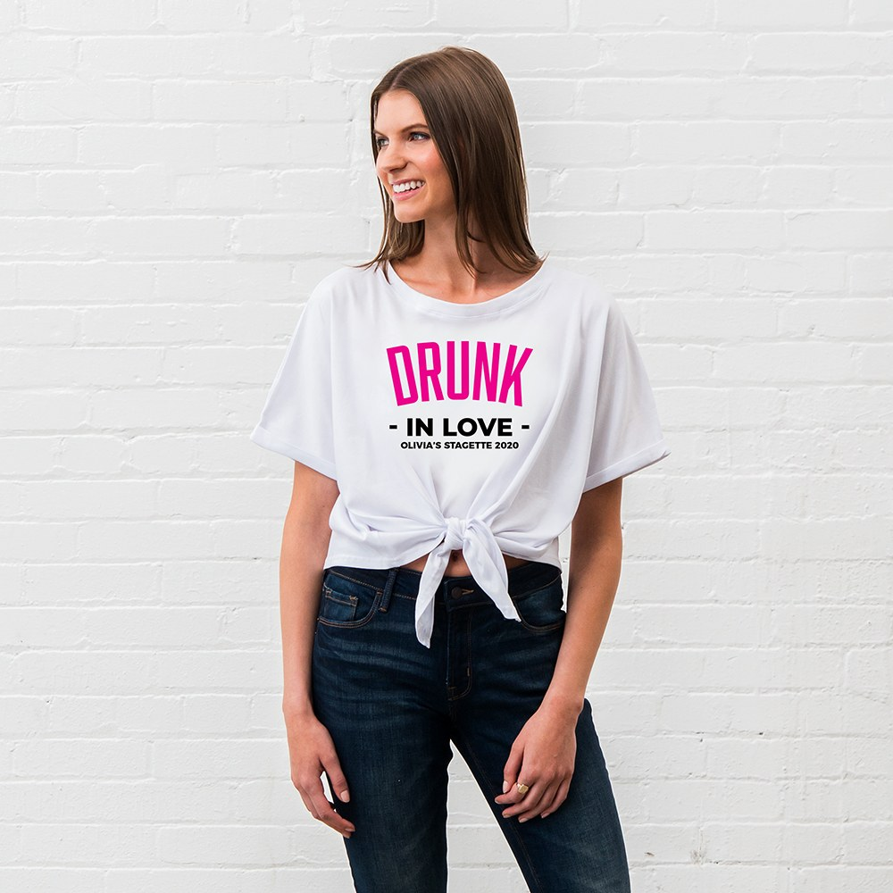 Personalized Bridal Party Tie-Up Wedding Shirt - Drunk In Love