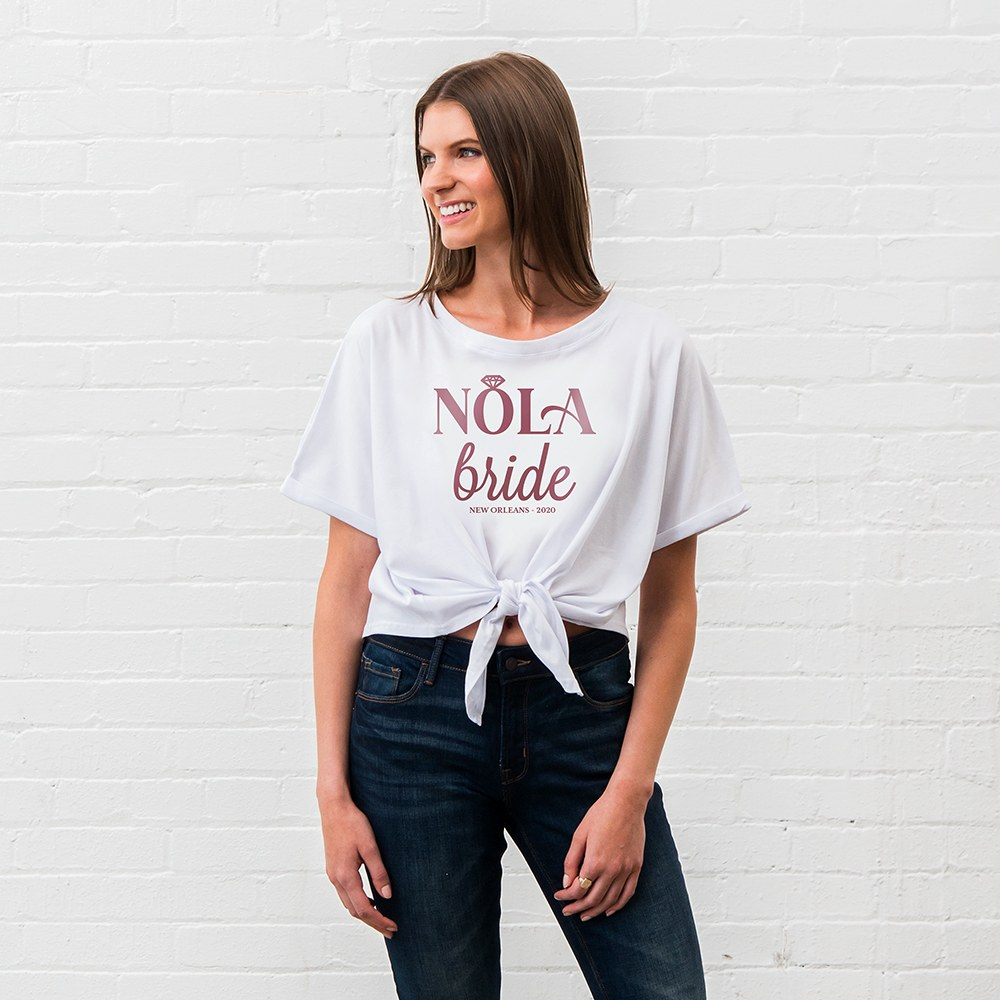 Personalized Bridal Party Tie-Up Wedding Shirt - Nola Bride