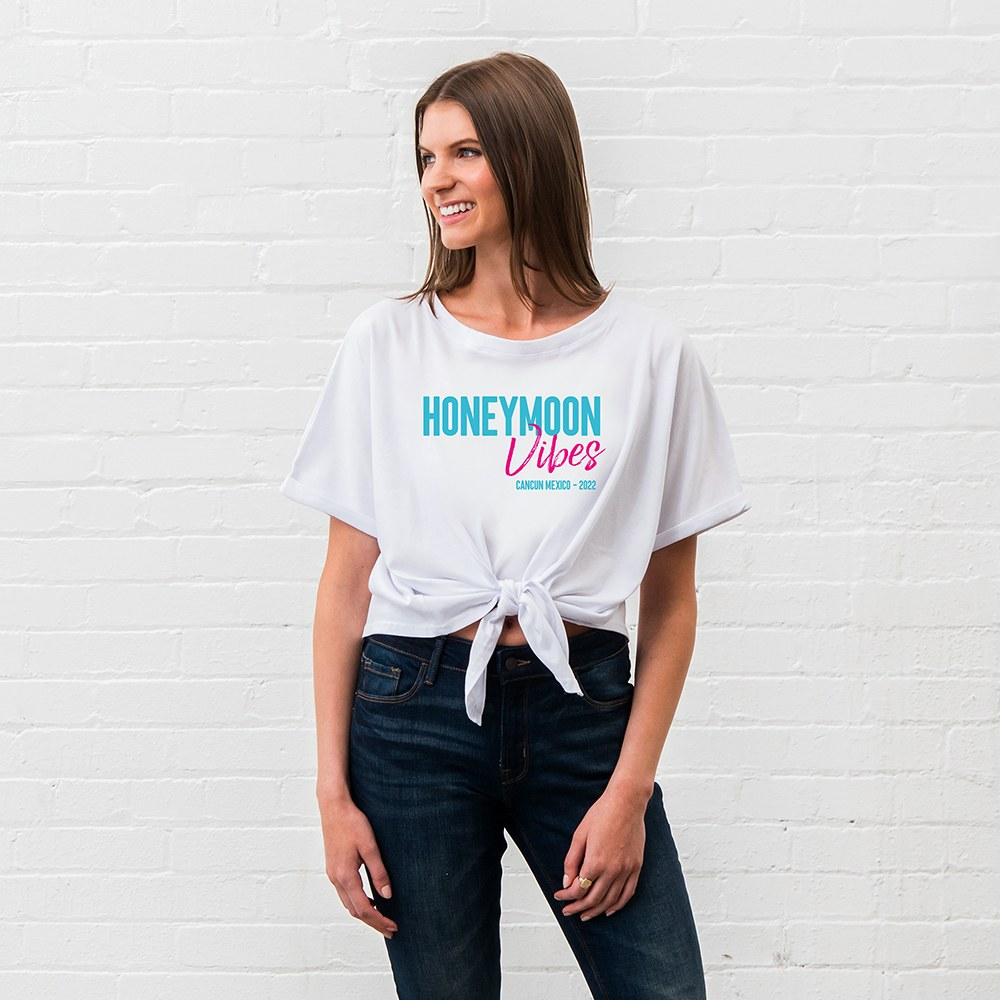 Personalized Bridal Party Tie-Up Wedding Shirt - Honeymoon Vibes