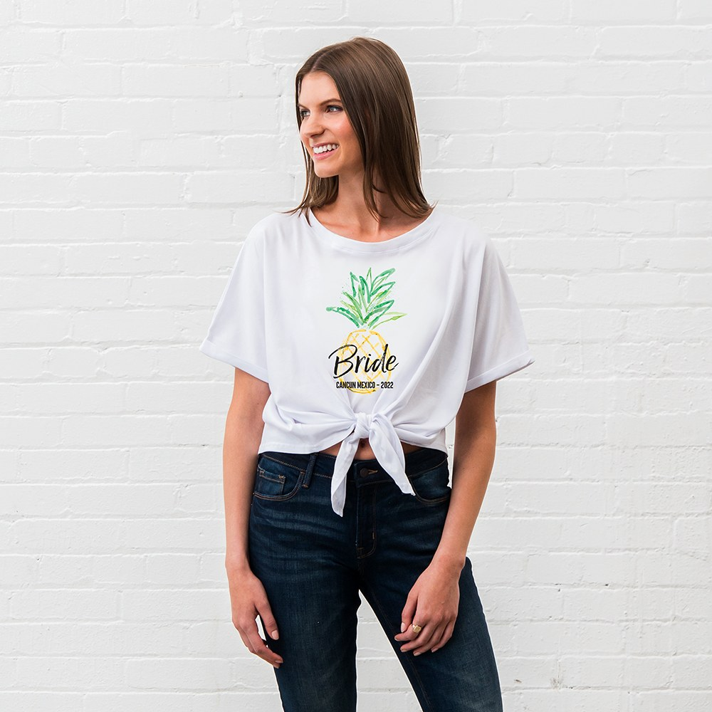 Personalized Bridal Party Tie-Up Wedding Shirt - Tropical Bride