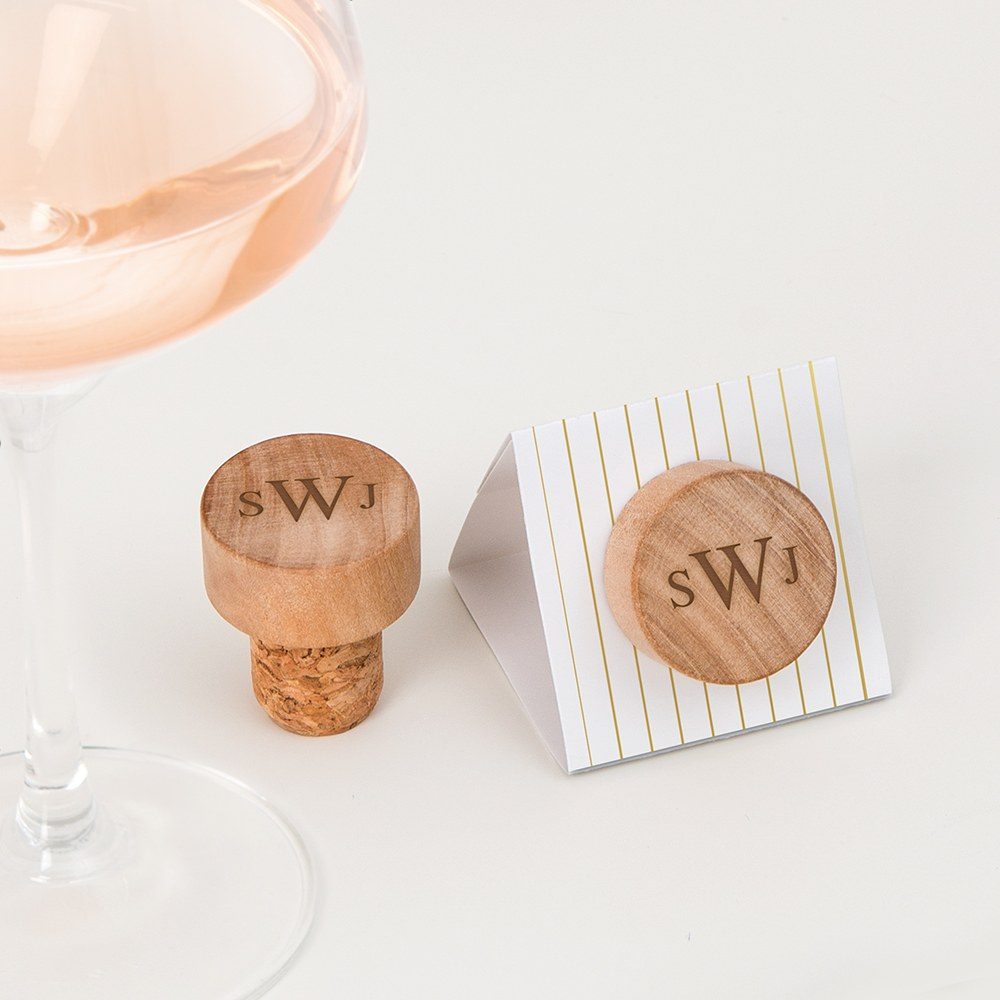 Custom Engraved Reusable Wooden Bottle Stopper - Traditional Monogram