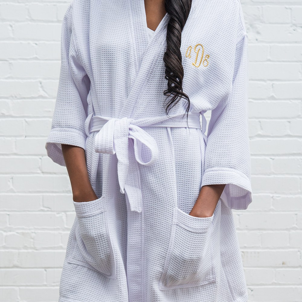 Women's Personalized Embroidered Waffle Knit Robe - White