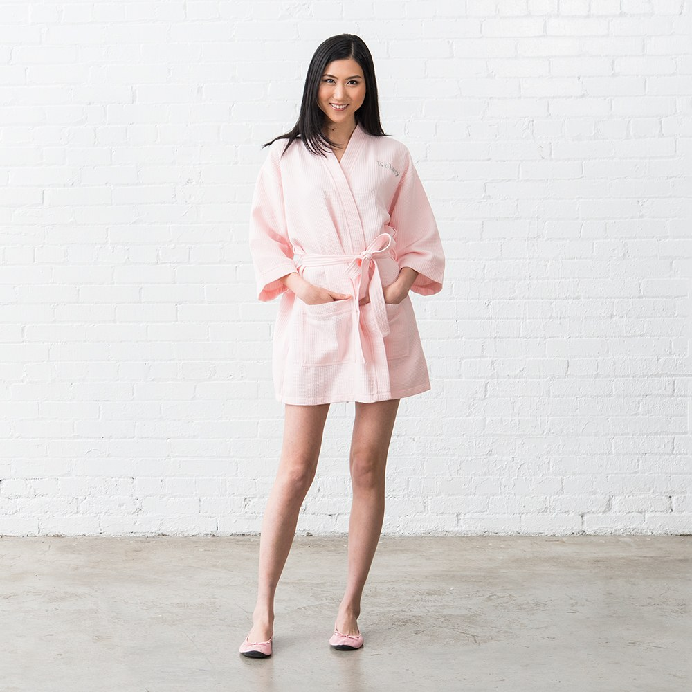 Women's Personalized Embroidered Waffle Knit Robe - Blush Pink