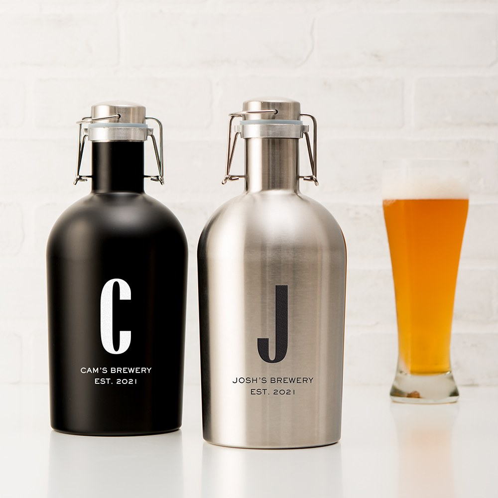 Personalized Stainless Steel Flip-Top Beer Growler - Sans Serif Monogram