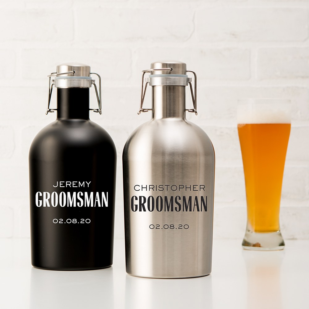 Personalized Stainless Steel Flip-Top Beer Growler - Modern Groomsman