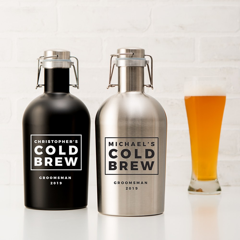 Personalized Stainless Steel Flip-Top Beer Growler - Cold Brew