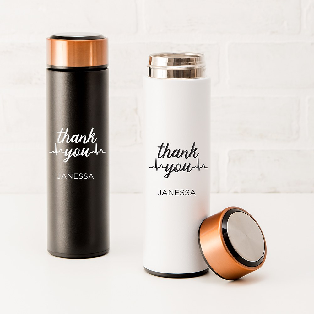 Personalized Stainless Steel Cylinder Travel Bottle - Thank You Heartbeat