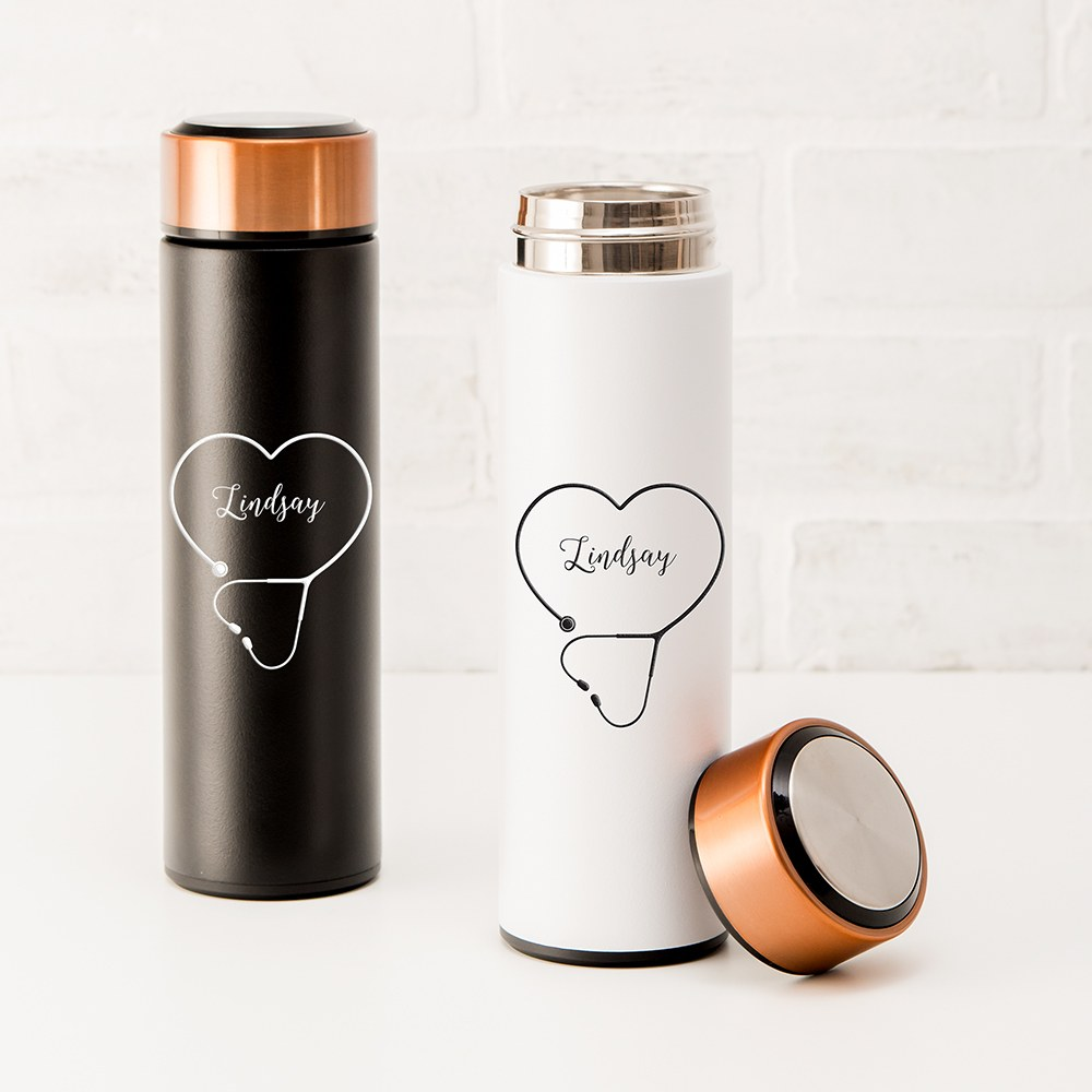Personalized Stainless Steel Cylinder Travel Bottle - Heart Stethoscope