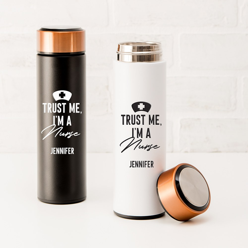 Personalized Stainless Steel Cylinder Travel Bottle - Trust Me I'm a Nurse