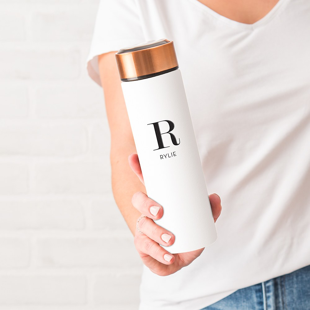 Personalized Stainless Steel Cylinder Travel Bottle - Modern Serif Initial