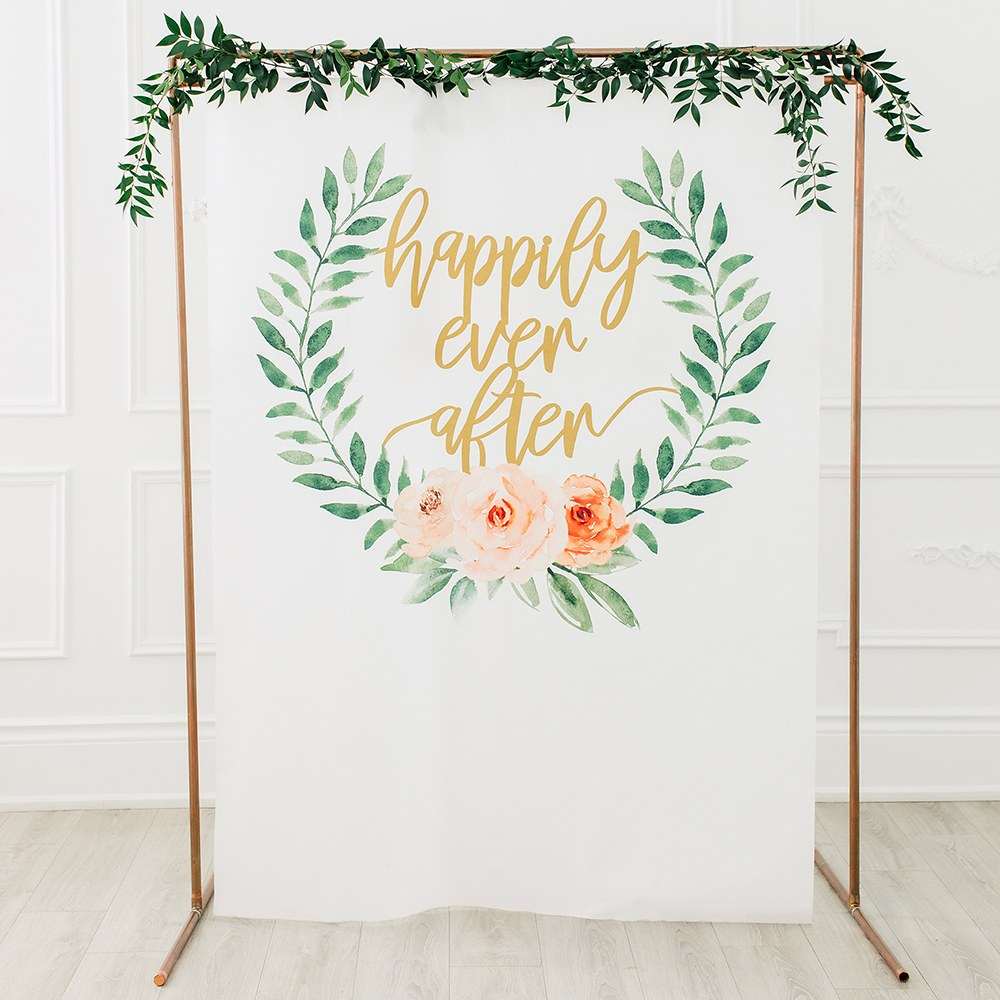 Printed Photo Backdrop Wedding Decoration - Happily Ever After