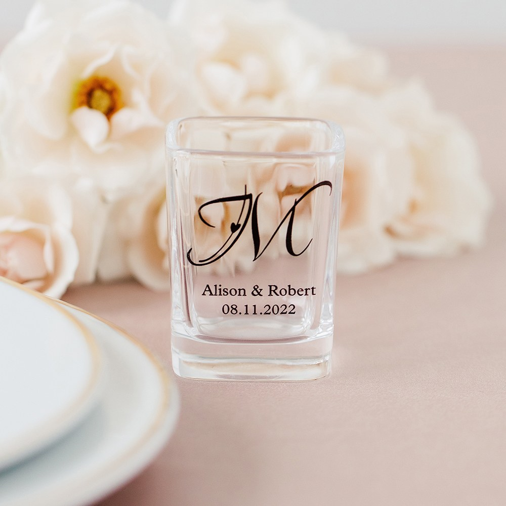 Custom Printed Square Shot Glass Wedding Favor