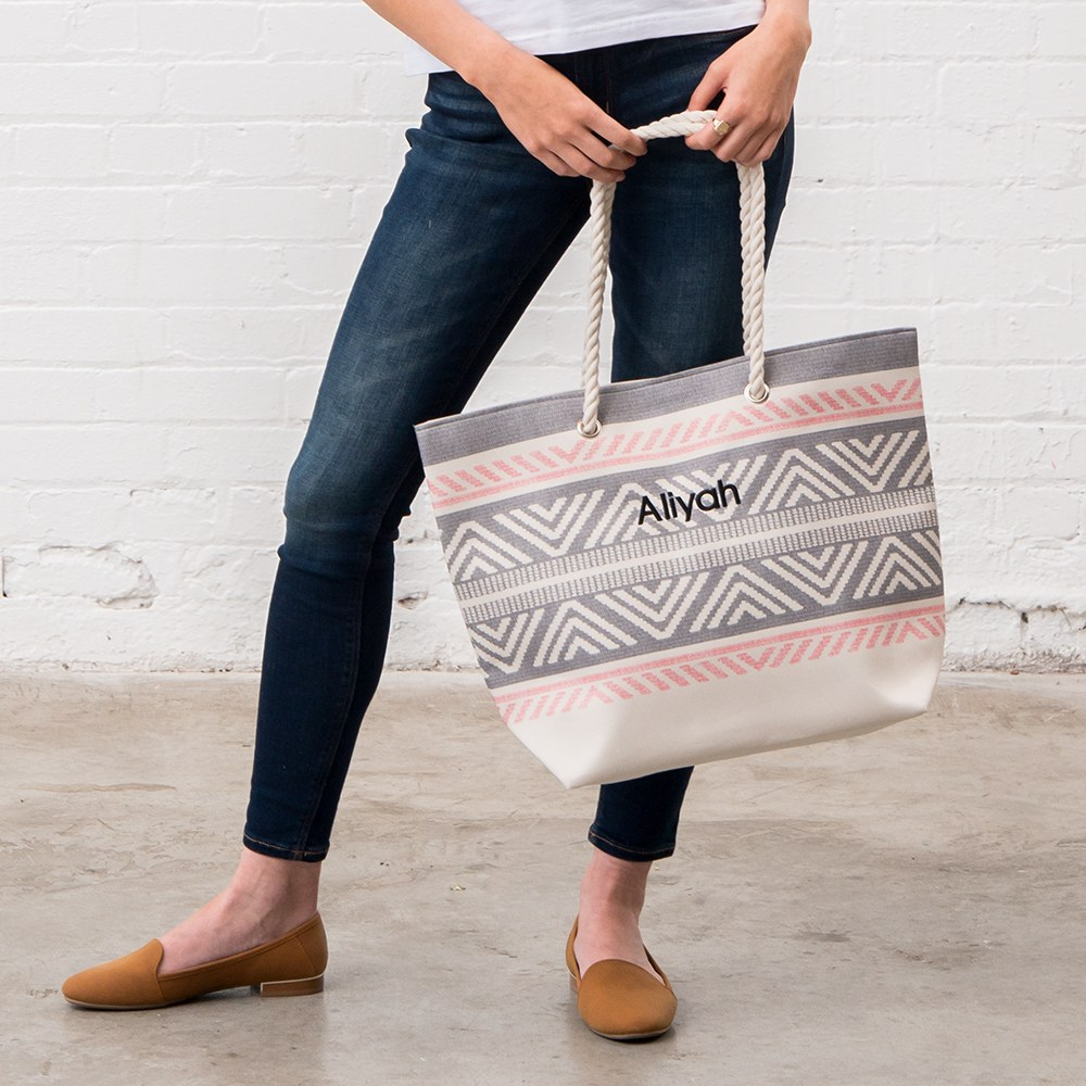 Personalized Extra-Large Cotton Canvas Fabric Beach Tote Bag - Tribal Print