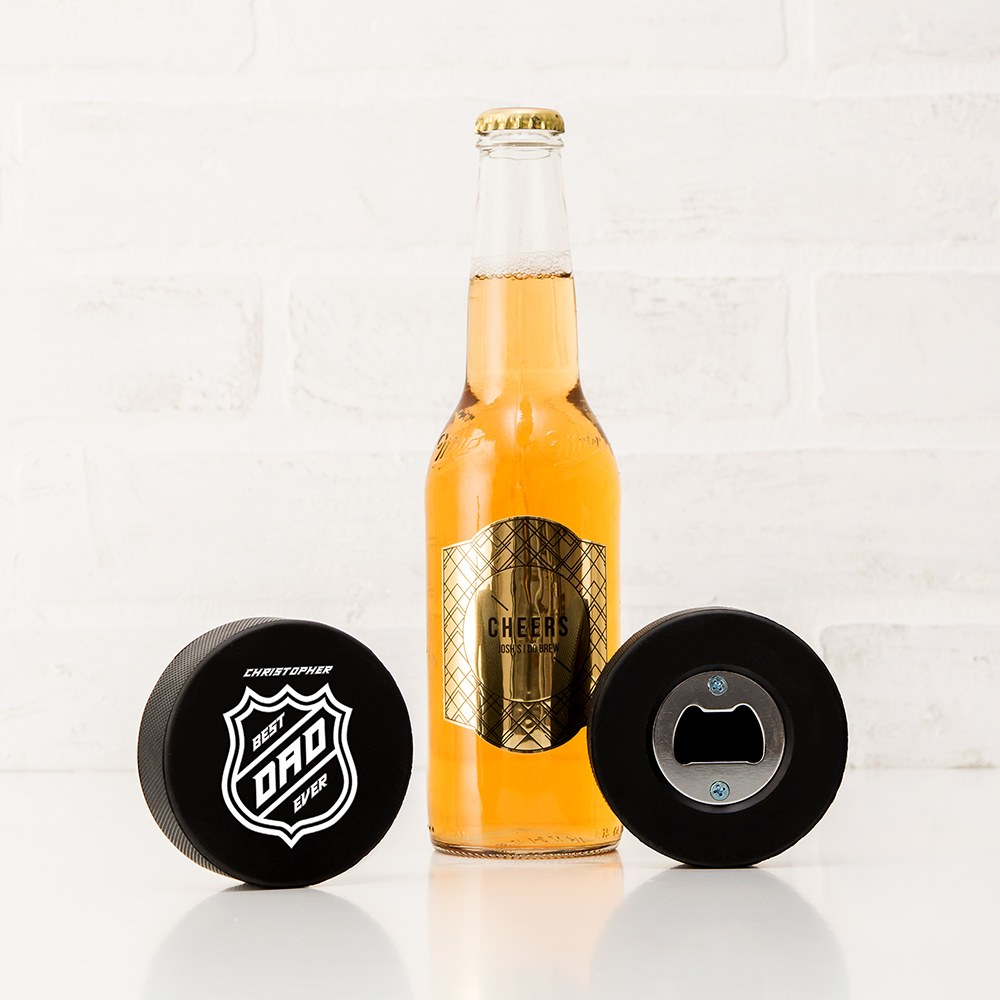 Custom Hockey Puck Bottle Opener Gift - Best Dad Ever