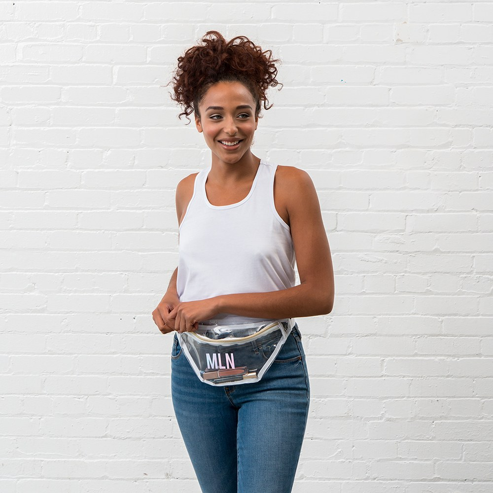 Personalized Clear Plastic Fanny Pack - Block Monogram