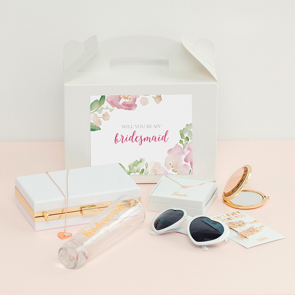 Personalized White Rectangle Paper Gift Box with Handle - Floral Garden Party