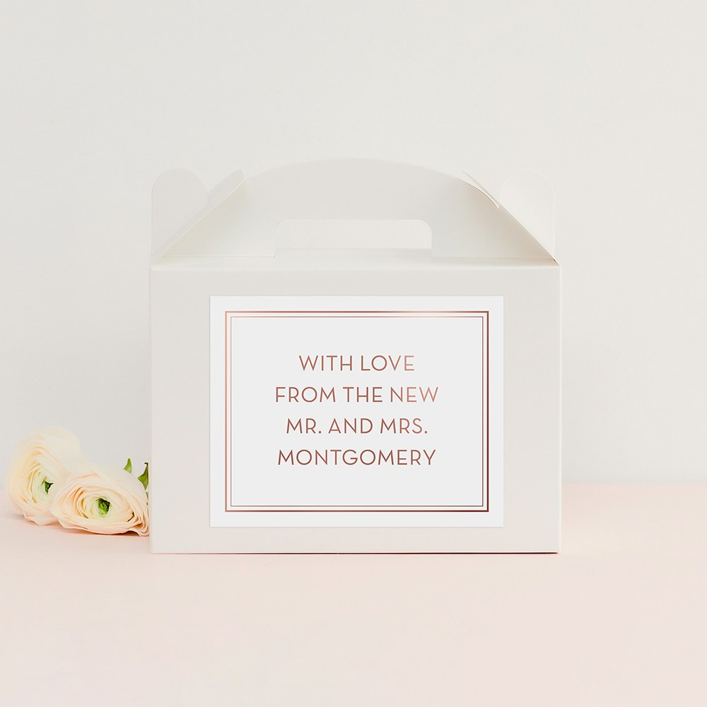 Personalized White Rectangle Paper Gift Box with Handle - Custom Text