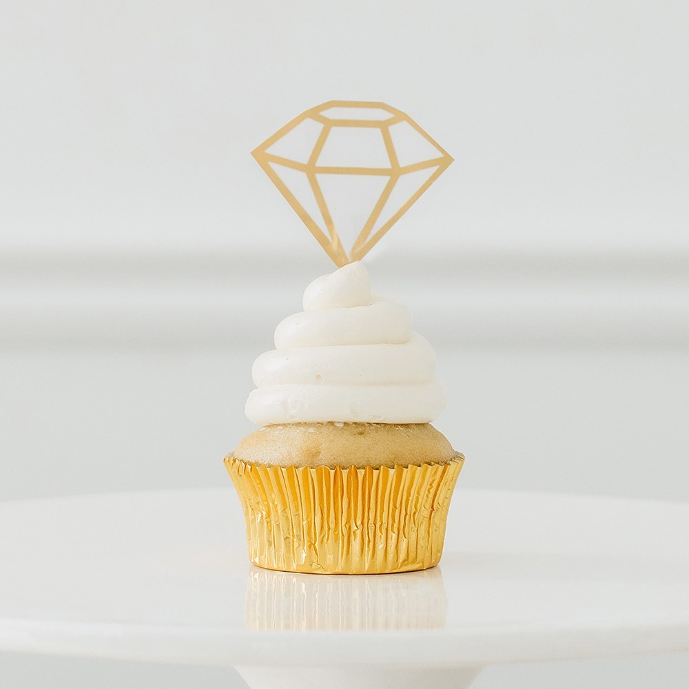 Paper Cupcake Topper Picks - Diamond - Set of 12