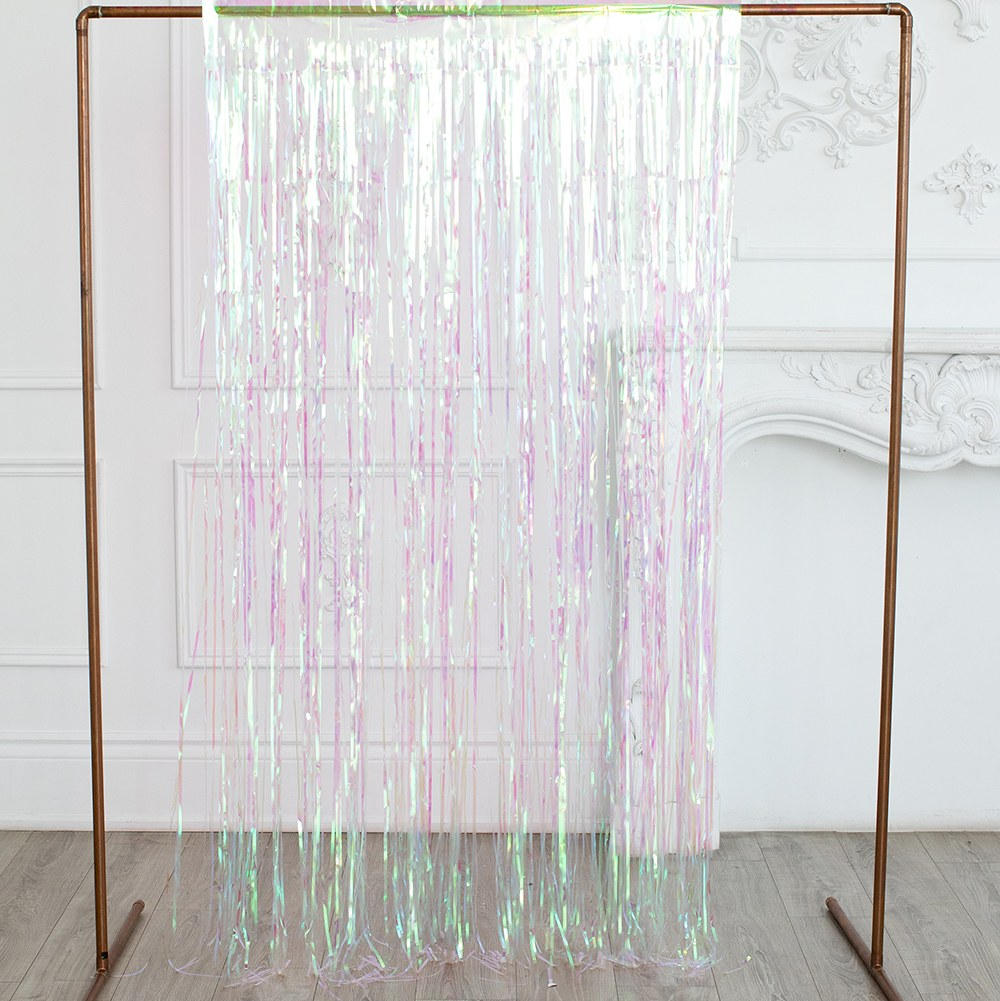 Metallic Foil Fringe Curtain Photo Backdrop - Iridescent