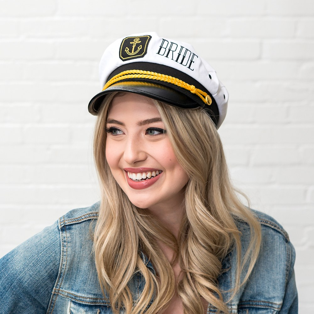 Nautical Bachelorette Party Captain Hat - Bride