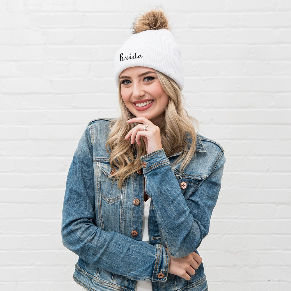 Custom Embroidered Bachelorette Beanie with Pom-Pom