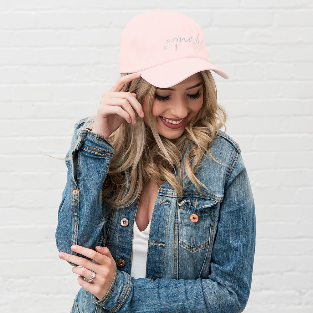 Women's Embroidered Bachelorette Party Dad Hat - Squad Script