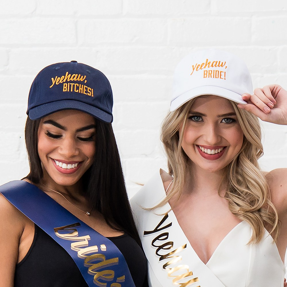 Women's Embroidered Navy Blue Bachelorette Party Dad Hat - Yeehaw Bitches
