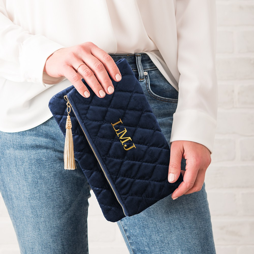 Personalized Fold Over Velvet Clutch - Navy Blue