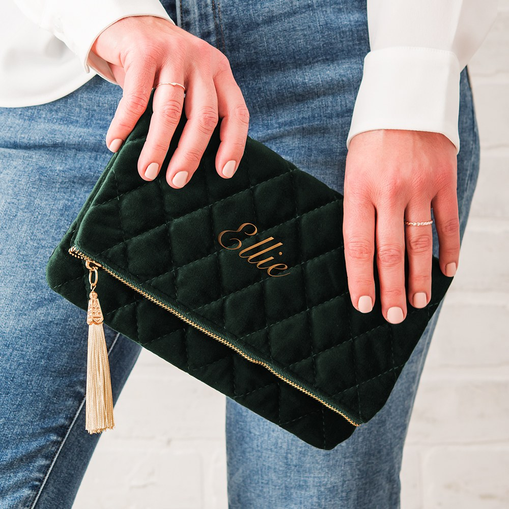 Personalized Fold Over Velvet Clutch - Emerald Green