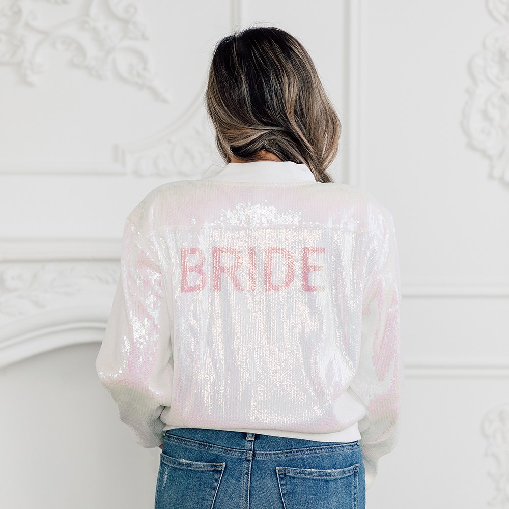 Sparkly Iridescent Pink Sequin Bomber Jacket - Bride