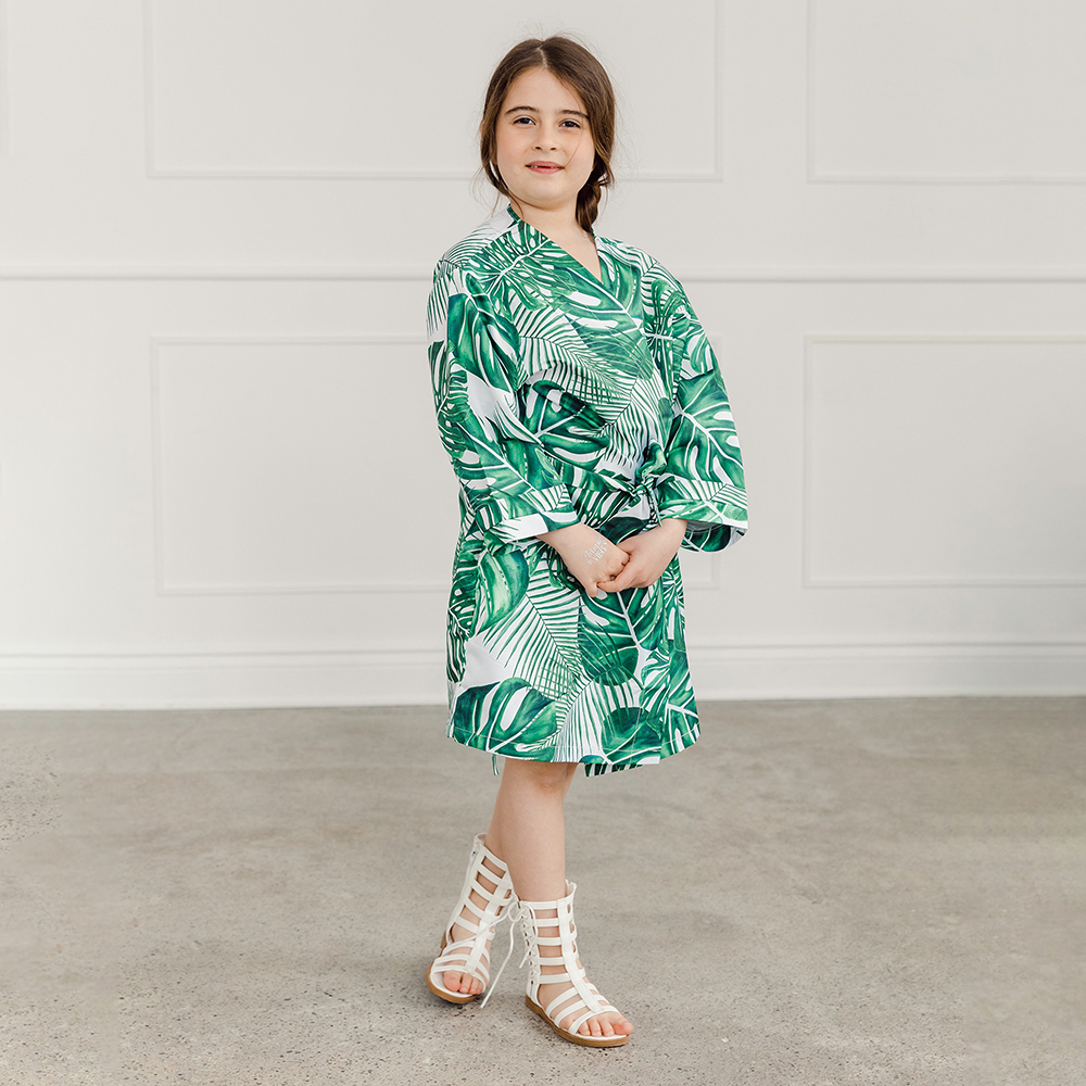 Personalized Embroidered Junior Bridesmaid Tropical Satin Robe with Pockets - Monstera Leaf