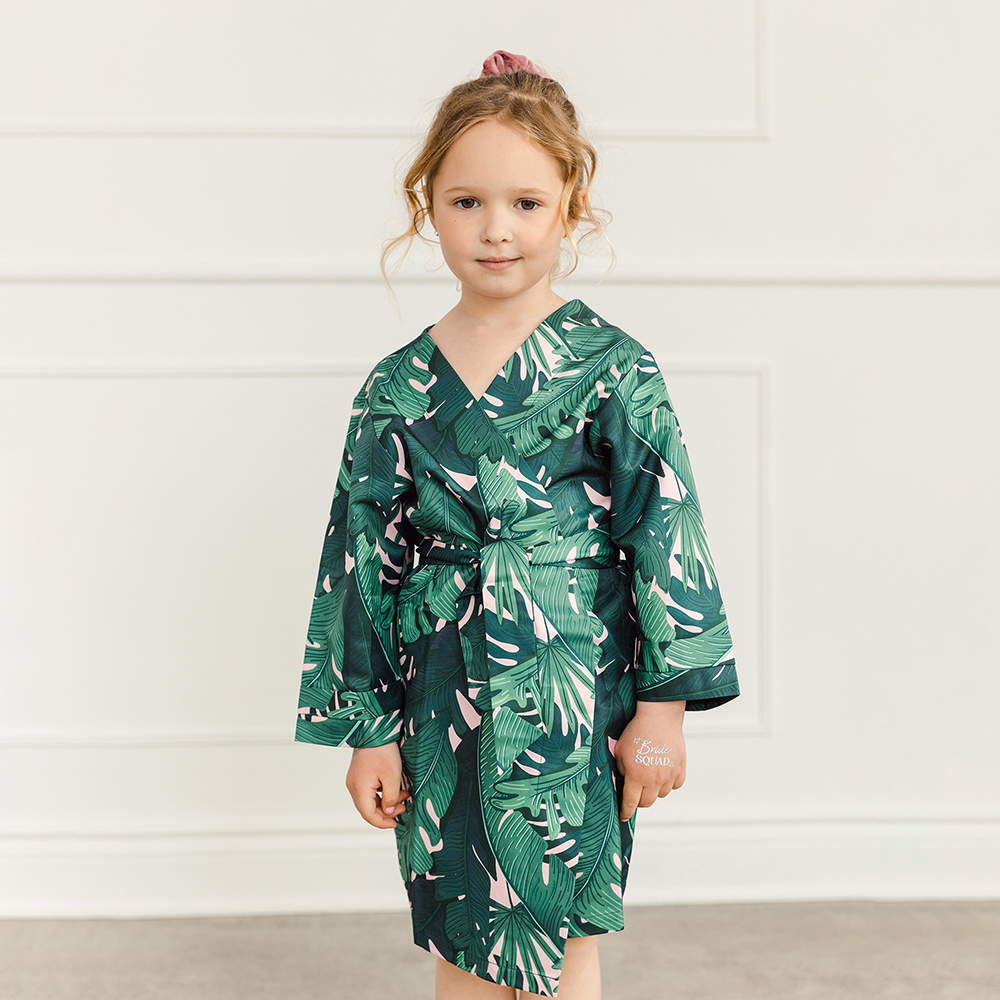 Personalized Embroidered Flower Girl Tropical Satin Robe with Pockets - Banana Leaf