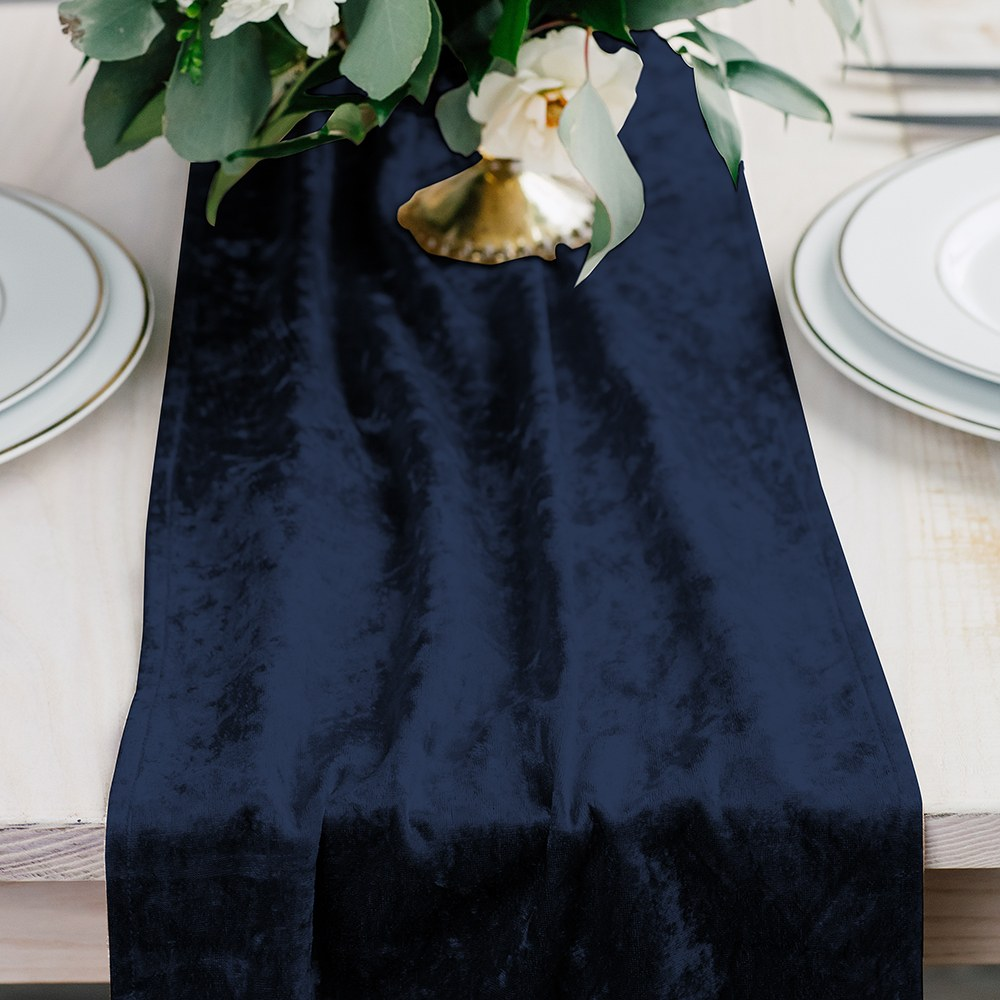 Velvet Table Runner - Navy Blue