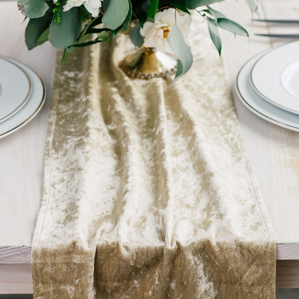 Velvet Table Runner - Champagne Gold