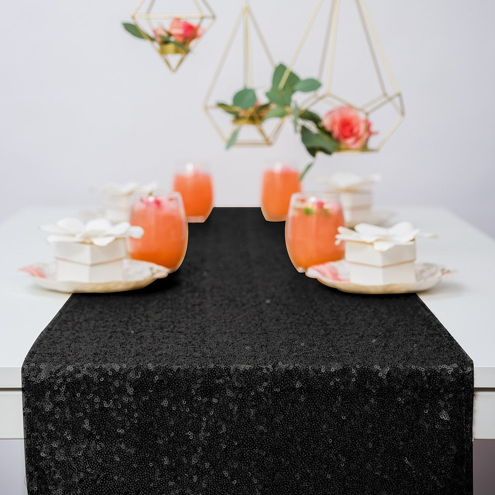 Modern Sparkle Sequin Table Runner - Black