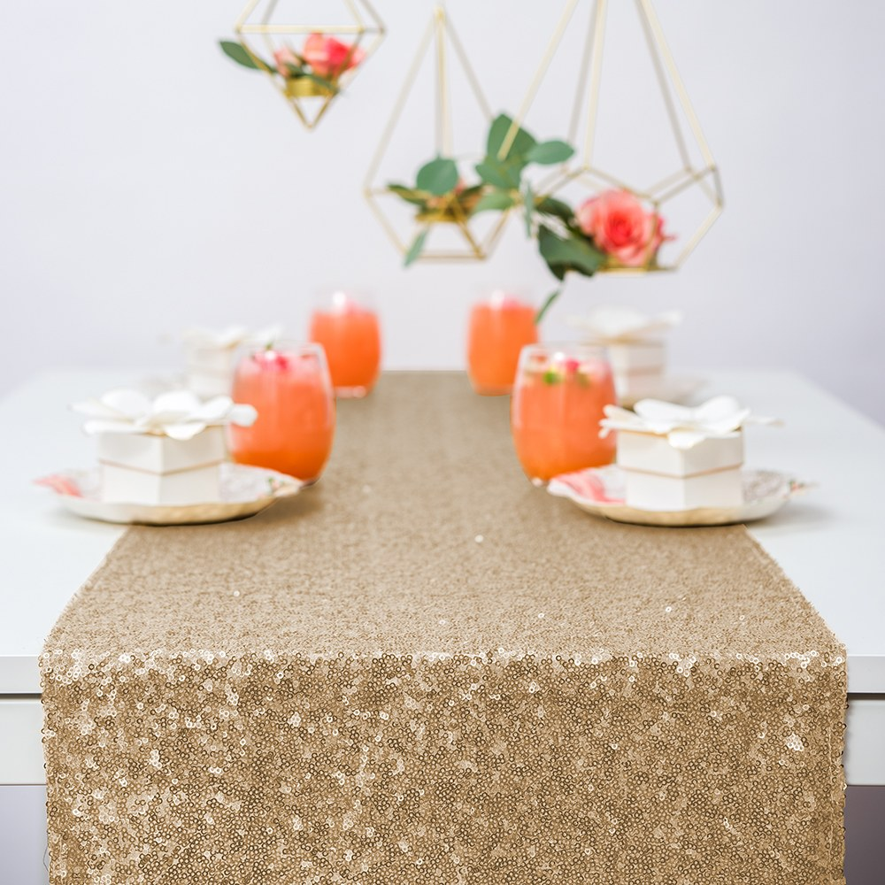 Modern Sparkle Sequin Table Runner - Metallic Gold